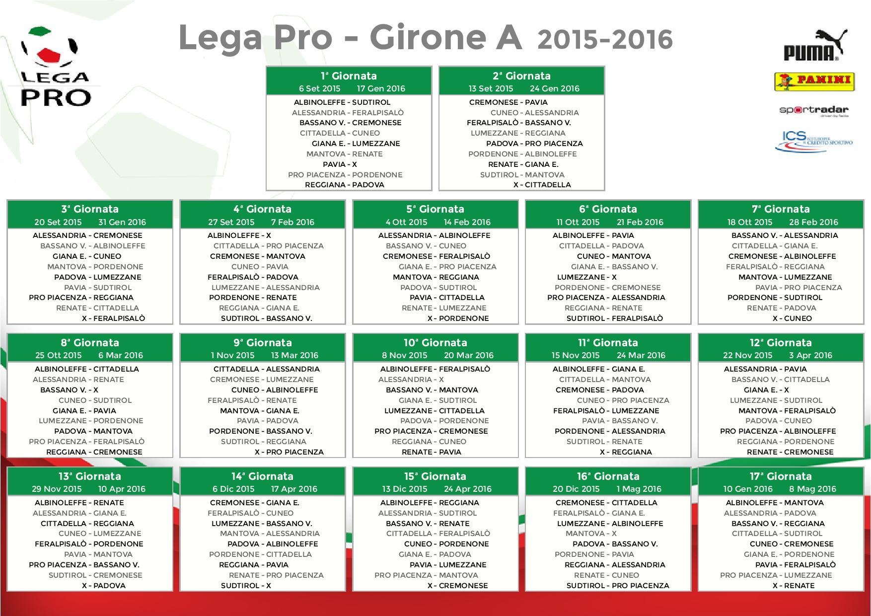 Calendario Pordenone Calcio.Pavia Calcio Calendario Partite Legapro Girone A 2015 2016