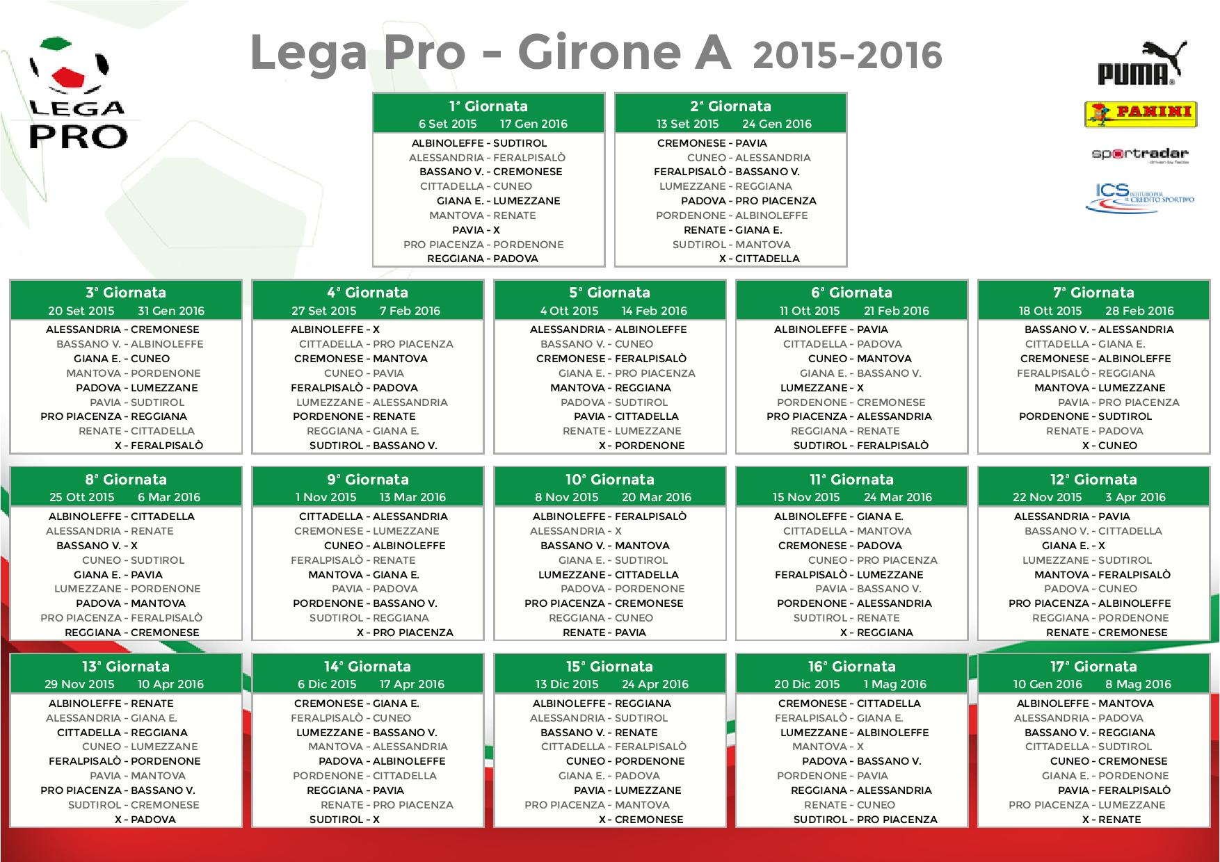 Calendario Calcio Padova.Pavia Calcio Calendario Partite Legapro Girone A 2015 2016